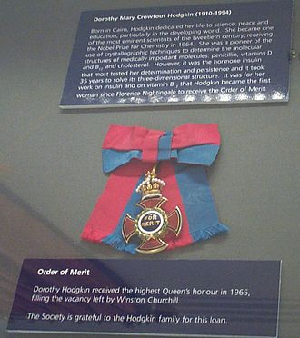 Dorothy Hodgkin - Order of Merit insignia of Dorothy Hodgkin, displayed in the Royal Society, London