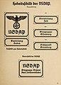 Organisationsbuc00nati orig 0071 ORGANISATIONSBUCH DER NSDAP 1936 Parteigenosse Politische Leiter Symbole Uniformen Seite 41 Hoheitsschild der NSDAP (Neuausführung) Beischild Ämterschild Nazi Party wall signs No known copyright res.jpg