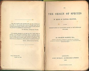 Picture of title page for Darwin's On The Origin of Species
