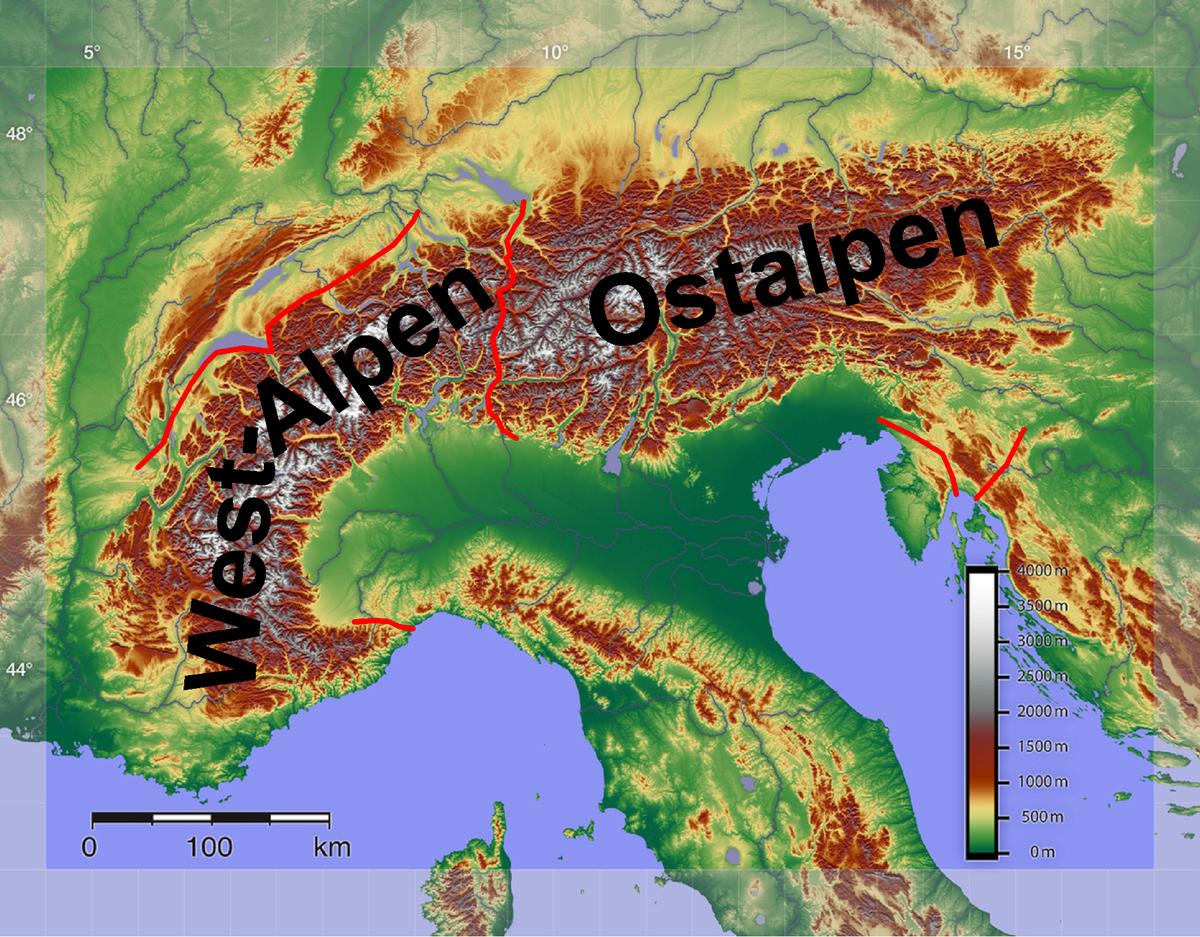 Alpenunterteilung in West- und Ostalpen