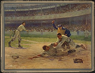 Roger Bresnahan - Bresnahan tagging out a runner while Christy Mathewson and John McGraw watch in Out at Home, by Fletcher C. Ransom
