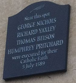 Photo of George Nichols, Richard Yaxley, Thomas Belson, and Humphrey Pritchard black plaque