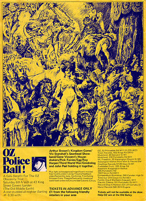 "UK underground - Oz number 33, back cover advertising ""A Gala Benefit For The OZ Obscenity Trial"""