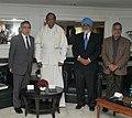 P. Chidambaram, the Deputy Chairman, Planning Commission, Shri Montek Singh Ahluwalia and the Union Minister for Road Transport & Highways, Dr. C.P. Joshi with the President, Asian Development Bank, Mr. Haruhiko Kuroda.jpg