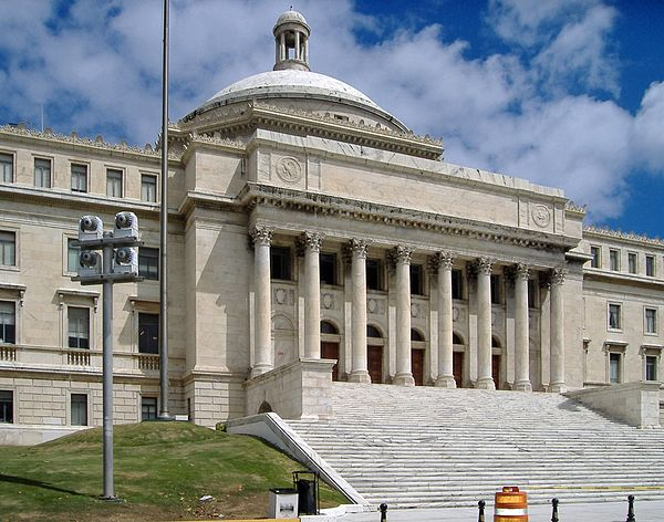 The Capitol of Puerto Rico, home of the Legislative Assembly in Puerto Rico PR Capitol, south side.JPG