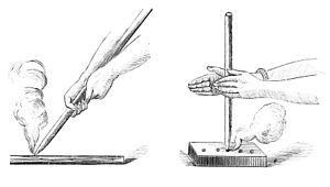 Fire plough - A fire plough (left), as opposed to a hand drill (right).