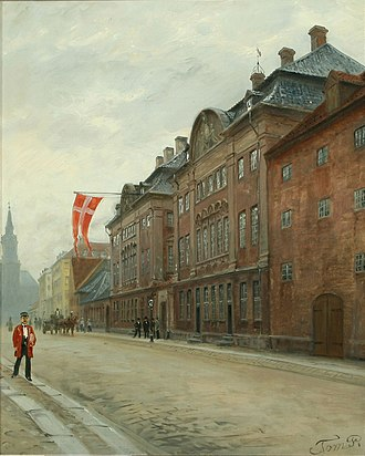 Asiatisk Plads - Danish Asia Company seen from the street in a painting from c. 1888
