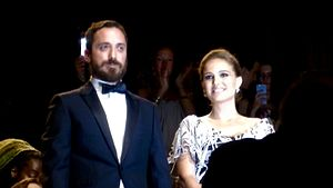 Jackie (2016 film) - Director Pablo Larraín and actress Natalie Portman during the premiére of the film in Venice, September 2016