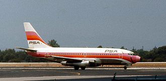 "Pacific Southwest Airlines - A PSA Boeing 737-200 with the ""smiling"" livery in 1974."