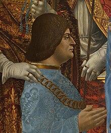 Ludovico Sforza gemalt von Francesco Napoletano, um 1494, Ausschnitt aus dem Sforza-Altar (Pinacoteca di Brera, Mailand) (Quelle: Wikimedia)