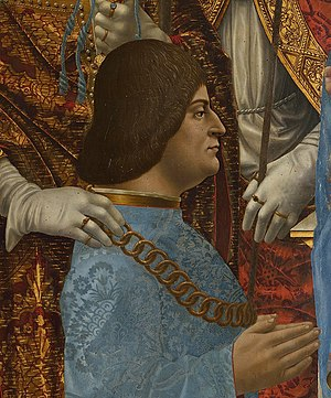 Ludovico Sforza - Ludovico the Moors portrait in the Pala Sforzesca, 1494–1495 (Pinacoteca di Brera in Milan)