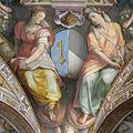 Palazzo capponi-vettori, salone poccetti, pennacchio con stemma riccardi capponi, 2.JPG
