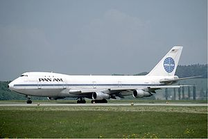Wide-body aircraft - Boeing 747, the first wide-body passenger aircraft, operated by Pan American World Airways