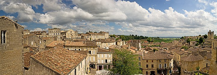 A panoramic view of the town of St Emilion, France.