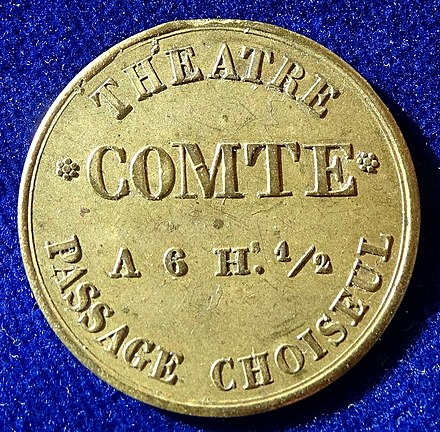 Admission token Theatre Comte, passage Choiseul, for a family of 4, obverse. Paris, France, Admission Jeton Token Theatre Comte, Passage Choiseul, ND (1827 - 1846), obverse.jpg