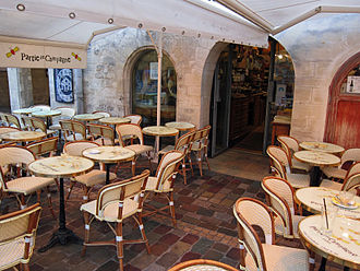"Parisian café - The terrace of the ""Partie de Campagne"" tea room at the Saint-Émilion courtyard in Bercy Village"