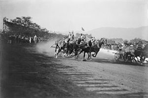 Rose Parade - A Chariot Race during the 1908 or 1911 Tournament of Roses; later replaced by the Rose Bowl Game