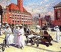 Paul Gustav Fischer - Københavns rådhus plads med lurblæserne foran Palads hotel.jpg