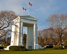 Peace Arch International Park, between Surrey, BC and Blaine, WA.