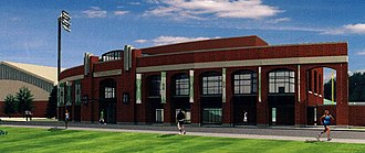 Peden Stadium - Computer model for the proposed Academic Center, 2014.