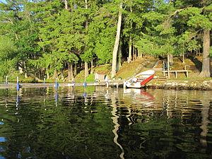 Pelican Lake Fishing 7-3-2009 Boat at dock.jpg