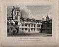 Pembroke College, Oxford; quadrangle. Line engraving by J. L Wellcome V0014147.jpg