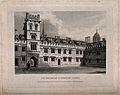 Pembroke College, Oxford; quadrangle. Line engraving by J. L Wellcome V0014147.jpg