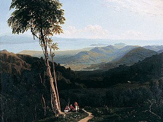 Penang Hill - Southeast view towards present-day Gelugor and Jerejak island in 1817