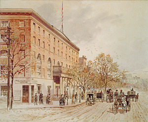 Pennsylvania Avenue National Historic Site - Watercolor of Pennsylvania Avenue at 6th Street in 1860. The unfinished U.S. Capitol building can be seen in the distance; the National Hotel is to the left.