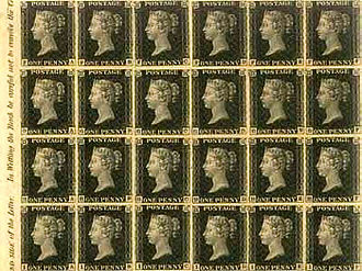 Penny Black - A large mint block of the Penny Black