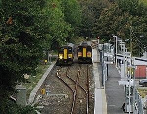 Passing loop - Trains in a passing loop at Penryn railway station in the UK
