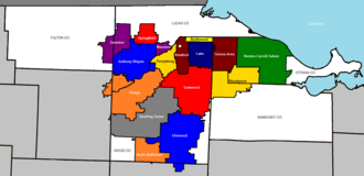 Penta Career Center - School districts served by Penta.  Penta's location is marked with a white pentagon in Rossford's school district.