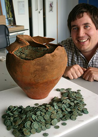 Shrewsbury Hoard - Finds Liaison Officer, Peter Reavill with the hoard