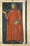 Fresco of Petrarch, Italian scholar, poet and humanist