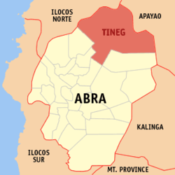 Map of Abra showing the location of Tineg