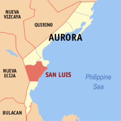 Map of Aurora with San Luis highlighted