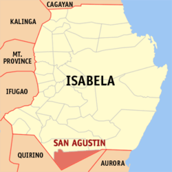 Map of Isabela showing the location of San Agustin