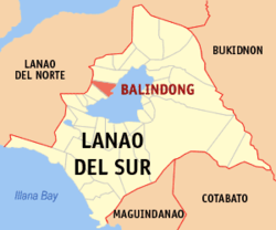 Map of Lanao del Sur showing the location of Balindong