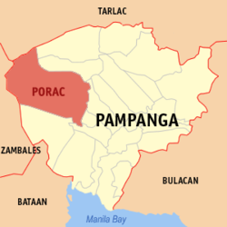 Map of Pampanga showing the location of Porac