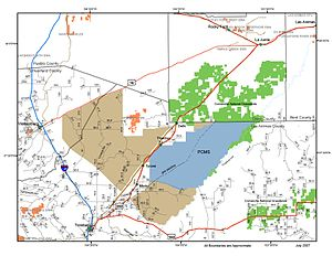 Piñon Canyon Maneuver Site - This map shows the existing Piñon Canyon Maneuver Site (blue), phase one of the expansion plan (brown), land of the Comanche National Grassland (green), and Colorado State Wildlife Areas (orange)