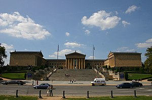 The front entrance and steps to the Philadelphia Museum of Art
