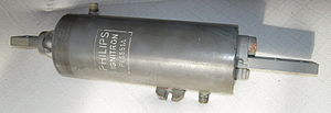 Ignitron -  An ignitron rated 56 amperes. Cooling jacket connections visible. In use the device was mounted so that the text would be upright.