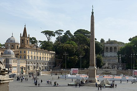 An ancient Egyptian obelisk in Piazza del Popolo Piazza del Popolo Obelisco Flaminio a Roma.jpg