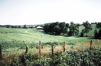 Battle of Piedmont - The 20th Pennsylvania Cavalry attacked from right to left in this picture, toward the Middle River in the vicinity of the barn, where they herded up hundreds of prisoners.
