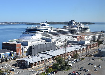 The Port of Halifax is North America's first inbound and last outbound shipping gateway to Europe. Pier21now.JPG