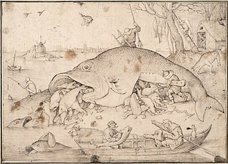 Pieter Bruegel the Elder - The Big Fish Eat the Little Fish, Bruegel's drawing for a print, 1556.