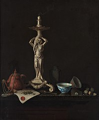 Still life with silver candlestick