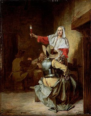 Two Soldiers and a Serving Woman with a Trumpeter - Image: Pieter de Hooch Serving maid raising beer glass in an inn with a soldier in armor and cardplayers beyond 4N6W4 L06031 9 1