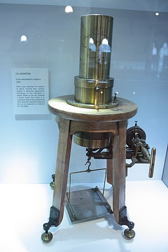 Piezoelectricity - Piezoelectric balance presented by Pierre Curie to Lord Kelvin, Hunterian Museum, Glasgow