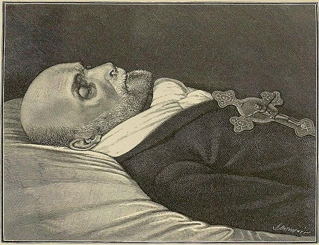 «Николай Иванович Пирогов в день смерти». Гравюра Матюшина Ивана Ивановича, 23 ноября 1881 года.